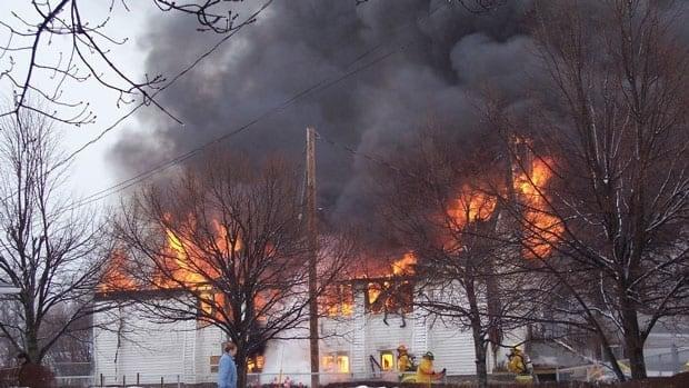 Fire crews battle the blaze.
