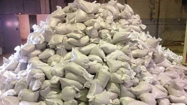 Sandbags are piled up at a City of Winnipeg depot in Transcona on Wednesday. Residents worried about overland flooding can pick up sandbags from three depots across the city.