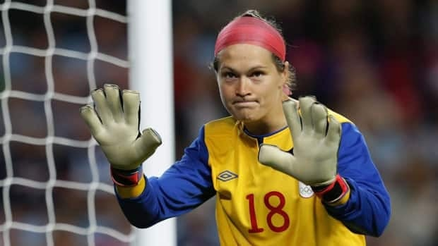 Canada's goalkeeper Erin McLeod, seen during the Olympic match against England, once again prevented the opposition from scoring on Monday.