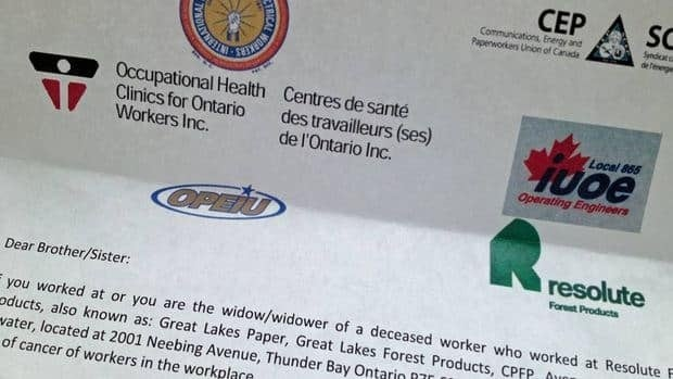A group concerned about higher cancer rates among mill workers sent a letter to all past and present employees of the pulp and paper mill in Thunder Bay, asking them to fill out a questionnaire about their health.