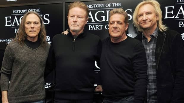 This Jan. 19, 2013 file photo shows members of The Eagles, from left, Timothy B. Schmit, Don Henley, Glenn Frey and Joe Walsh at the 2013 Sundance Film Festival in Park City, Utah.