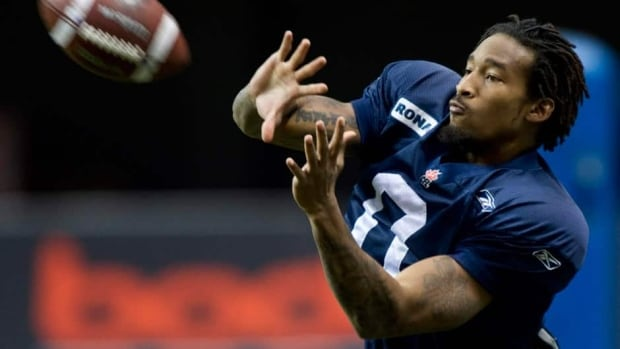Winnipeg Blue Bombers defensive back Johnny Sears catches during a practice Wednesday November 23, 2011 in Vancouver.