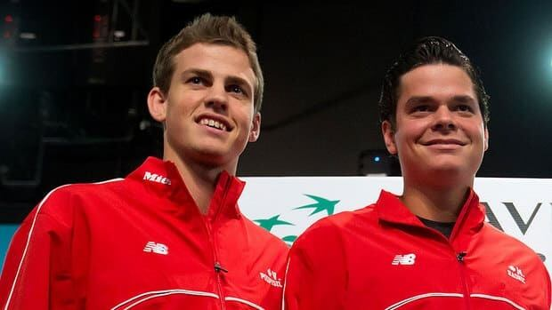 Canada's Vasek Pospisil, left, will take on Andreas Seppi on the opening day of Canada's Davis Cup quarter-final against Italy on Friday. Milos Raonic, right, will face Fabio Fognini.