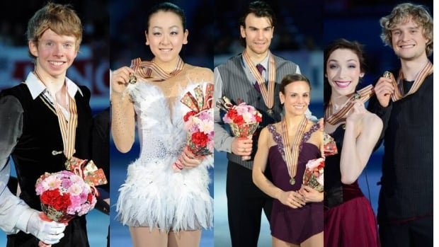 The winners at Four Continents were, from left, Kevin Reynolds, Mao Asada, Eric Radford and Meagan Duhamel, and Meryl Davis and Charlie White.