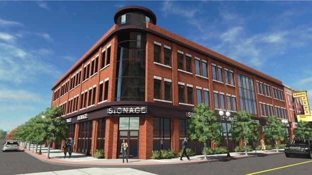An artist's rendering shows the plans for a new $10-million office complex planned for James Street North at Vine.