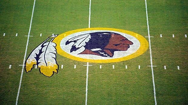 The Washington Redskins logo, as seen at midfield of their field in Landover, Md.