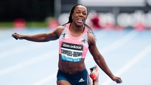 Veronica Campbell-Brown grimaces while crossing the finish line at the Diamond League event in New York City last month.