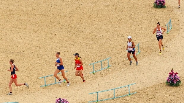 Athletes compete in the Women's Modern Pentathlon on Day 16 of the London 2012 Olympic Games on August 12, 2012 in London, England.
