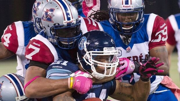 Montreal Alouettes defenders Josh Bourke, right, and John Bowman, left, will look to help their team's cause in 2013.