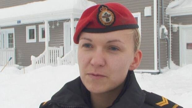 Cpl. Adriana Laing was called to a home on the base in Goose Bay where a wolf attacked a dog.