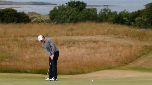 Rory McIlroy putts during a practice round at Muirfield in Gullane, Scotland, on Monday.
