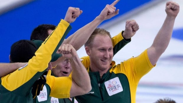 Brad Jacobs, right, led his rink to a surprise Brier title, Northern Ontario's first since 1985.