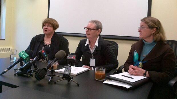 MLA Marilyn More, Penny Milton and Debra Pepler speak Monday morning.