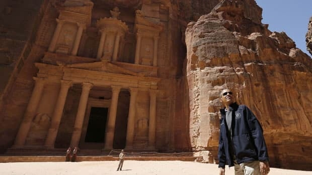 U.S. President Barack Obama stops to look at the Treasury as he takes a walking tour of the ancient historic and archaeological site of Petra on Saturday.
