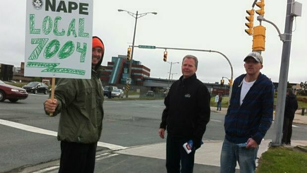 Striking Labatt workers held an information picket along Prince Philip Drive Monday morning.