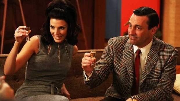 Jessica Paré as Megan Draper, left, and Jon Hamm as Don Draper in a scene from season six of Mad Men, which debuted Sunday.