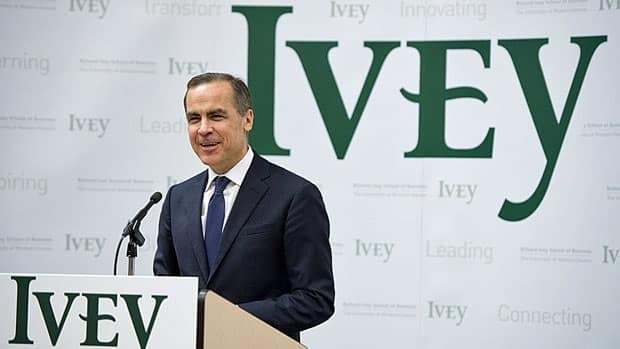 Bank of Canada Governor Mark Carney spoke at the Richard Ivey School of Business in London, Ont. on Monday.
