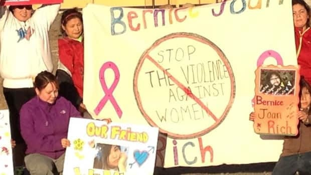 Community members marched through Natuashish on Monday, remembering Bernice Rich.