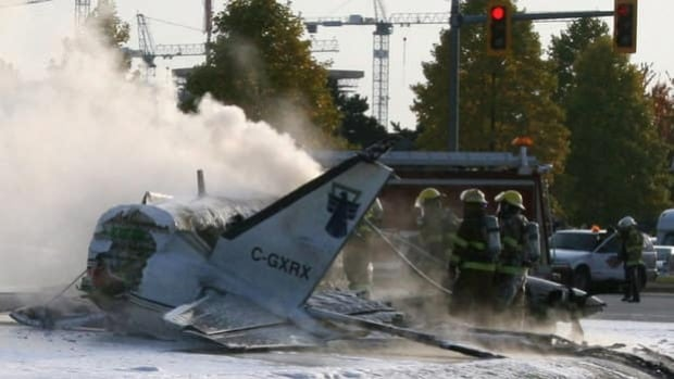 Two people were killed and several others injured when the small plane broke into pieces as it crashed on approach to Vancouver's airport in October 2011.