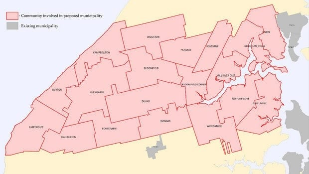 The proposed Town of Central West Prince would cover a large section of the western end of the province.