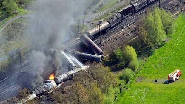 Several cars carrying chemicals derailed during an overnight trip from the Netherlands.