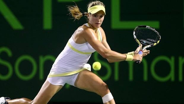Eugenie Bouchard, seen in a match last month, earned another impressive win early in her pro career Wednesday.