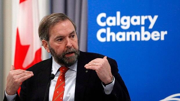 NDP Leader Tom Mulcair spoke to business leaders at Calgary's Chamber of Commerce Tuesday, trying to position his party as open to the right kinds of resource development and free trade.