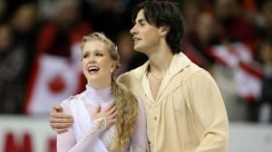 Kaitlyn Weaver and Andrew Poje celebrate their skate at the world championships in London, Ont., last month.