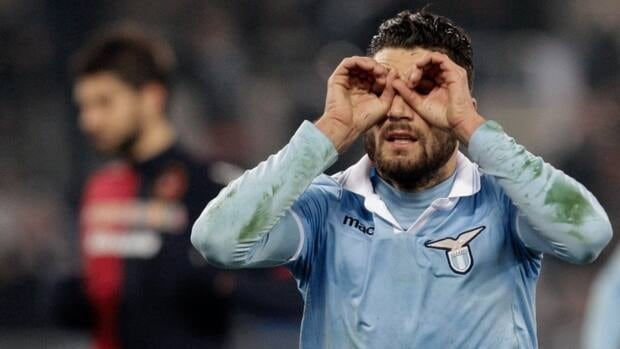 Lazio midfielder Antonio Candreva celebrates after scoring on a penalty kick against Cagliari, at Rome's Olympic stadium on Saturday.