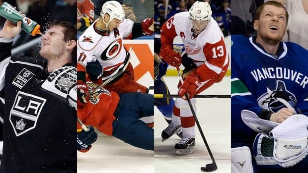 It was not a great start to the season for, from left to right, Jonathan Quick, Jordan Staal, Pavel Datsyuk, and Cory Schneider.