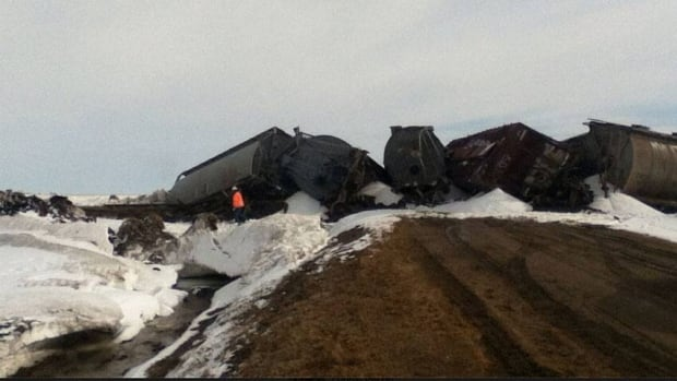 The derailment Tuesday left a number of mangled rail cars east of the town of Pense.