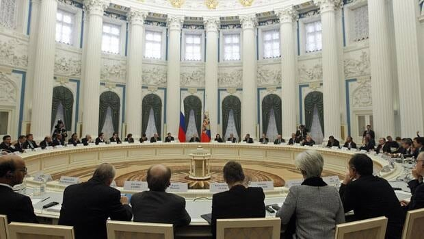 G20 representatives meet with Russian President Vladimir Putin in the Kremlin Friday.