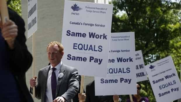 Canadian diplomats working at the embassy in Washington say they are underpaid compared to other public servants with similar qualifications and experience.