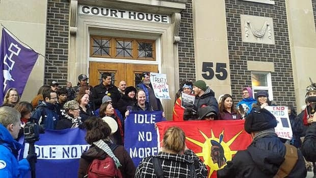 Around 70 people showed up Wednesday at the Cayuga Courthouse to support a Six Nations member on trial for charges following an incident at a protest in February 2012.