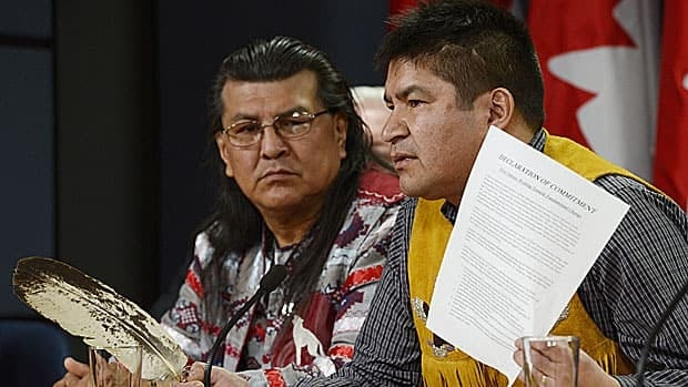 Danny Metatawabin (right), spokesman for Attawapiskat Chief Theresa Spence during her recent hunger strike, is the co-ordinator of the community's Impact Benefit Agreement with diamond miner De Beers. The company operates Victor Mine not far from Attawapiskat. He is pictured here with Manitoba Elder Raymond Robinson in Ottawa last month.