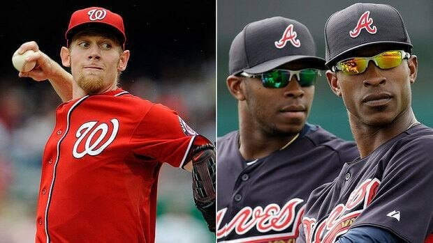 Nationals pitcher Stephen Strasburg, left, won't have an innings limit this season, meaning more matchups against the Braves' Upton brothers, B.J. and Justin.