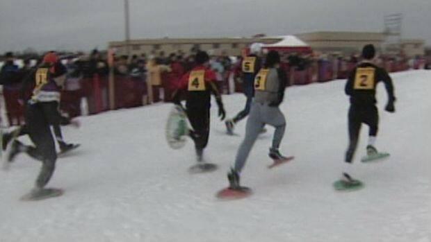 Snowshoe racing at the Labrador Winter Games.
