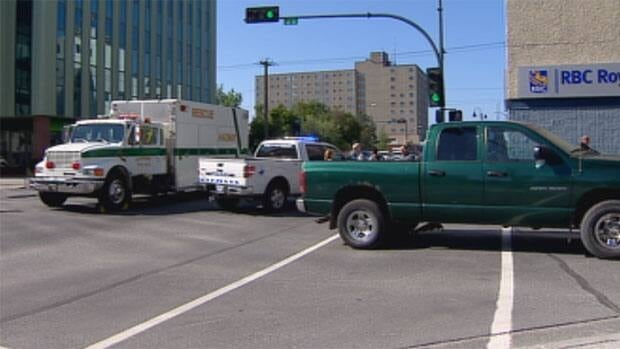 A 90-year-old woman is in hospital in Edmonton after being struck by a pickup truck Thursday morning at the intersection of 52nd Street and Franklin Avenue in downtown Yellowknife.