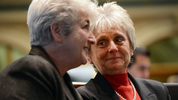 Rep. Lois Court, D-Denver, left, talks with Joann Ginal, D-Fort Collins, before a vote on civil union at the State Capital in Denver, Colo.
