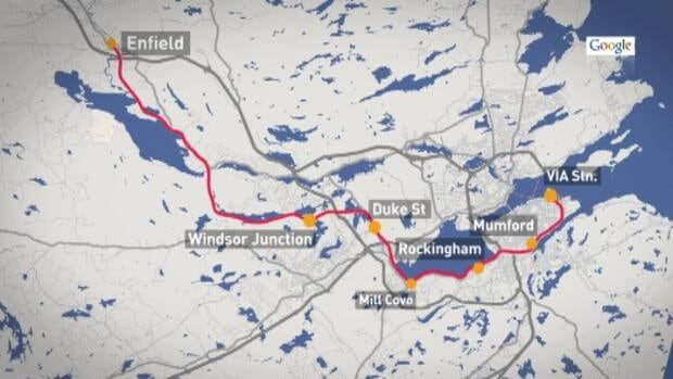 The proposal involves operating a service between Enfield, Windsor Junction, Rockingham, through Bedford and to the VIA Rail Station in Halifax's southend.