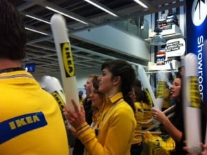 Ikea staff welcome shoppers