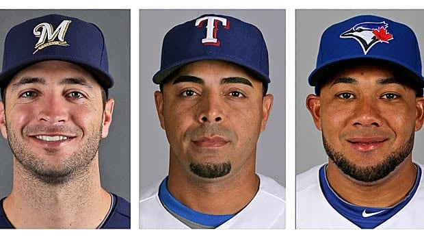 From left to right: Ryan Bruan of Milwaukee, Nelson Cruz of Texas, and Toronto's Melky Cabrera have all been linked to the Miami clinic.