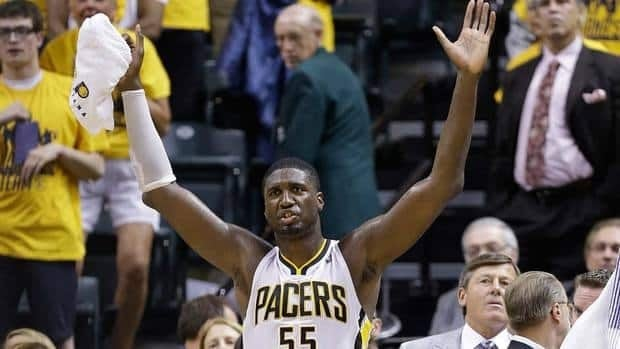 Indiana Pacers centre Roy Hibbert was fined $75,000 for using a gay slur and vulgar language following the team's Game 6 victory against the Miami Heat Saturday night.