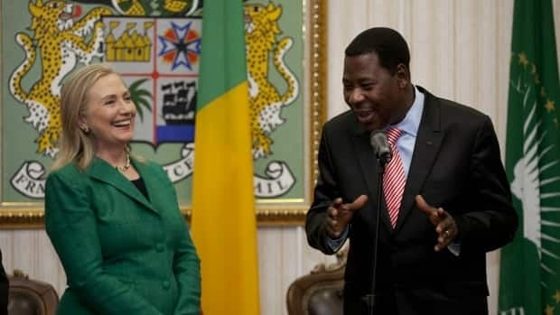 Prime Minister Stephen Harper will be meeting with Benin's President Thomas Yayi Boni, seen here with U.S. Secretary of State Hillary Rodham Clinton. Yayi Boni is expected to bring up the issue of aid or troop intervention in Mali.