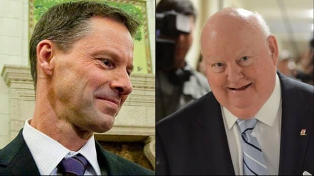 Nigel Wright, left, cut a personal cheque to cover the inappropriate housing expenses claimed by Senator Mike Duffy, right. Wright is Prime Minister Stephen Harper's chief of staff.