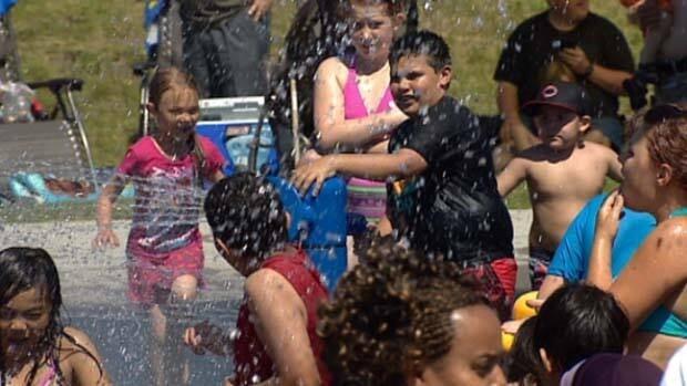 Northeast Edmonton residents beat the heat at the Castledowns spray park.