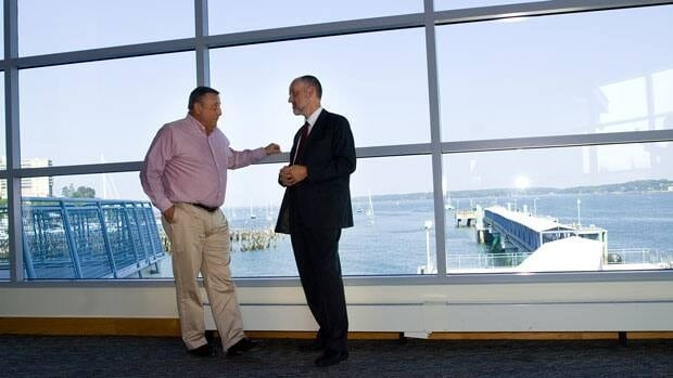 Maine Governor Paul LePage speaks to Graham Steele in Maine Wednesday.