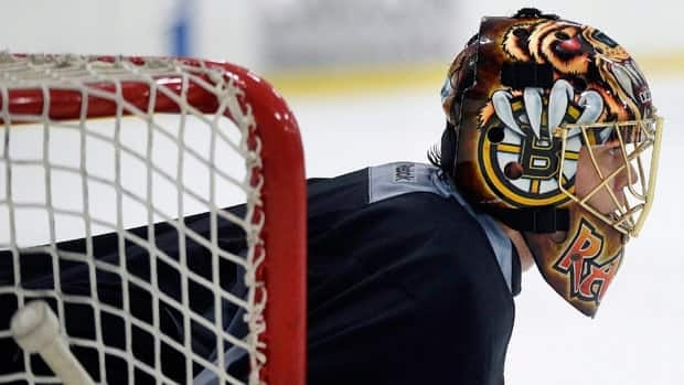 Boston goaltender Tuukka Rask, seen at a practice earlier this season, bounced back from a rare subpar effort in Game 4 to help the Bruins eliminate the New York Rangers.