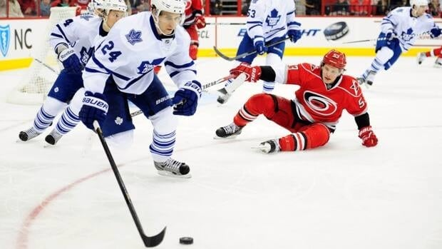 Carolina forward Jeff Skinner, right, suffered a concussion against the Toronto Maple Leafs last Thursday.