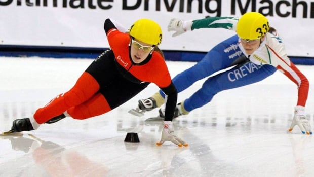 Canadian speedskater Marianne St. Gelais, shown at left in this file photo, settled for a fourth-place finish at the world short-track championships on Saturday.